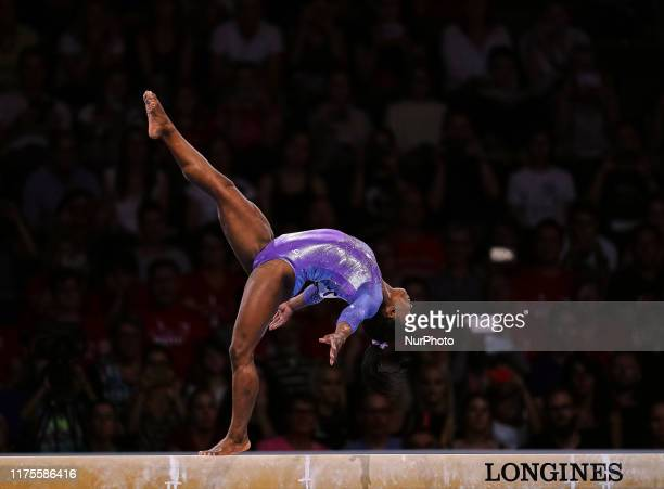 Simone Biles of United States of America during balance beam for women at the 49th FIG Artistic Gymnastics World Championships in Hanns Martin...