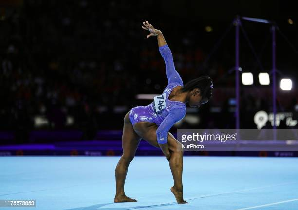 Simone Biles of United States of America wins floor exercise for women at the 49th FIG Artistic Gymnastics World Championships in Hanns Martin...