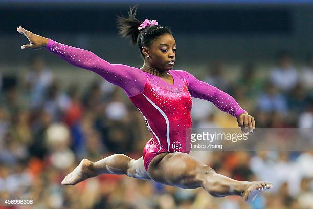 Simone Biles of United States performs on the Balance Beam during the Women's AllAround Final in day four of the 45th Artistic Gymnastics World...
