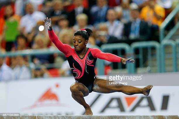Simone Biles of United States performs on the Balance Beam during the Women's Balance Beam Final on day six of the 45th Artistic Gymnastics World...