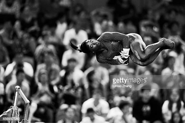 Simone Biles of United States performs on the uneven bars during the Women's AllAround Final in day four of the 45th Artistic Gymnastics World...