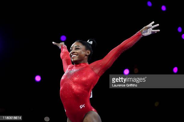 Simone Biles of United States reacts after her routine in Women's Vault Final in the Apparatus Finals during Day 9 of 49th FIG Artistic Gymnastics...