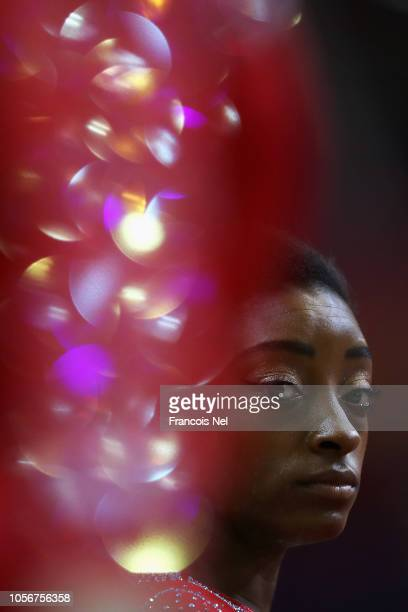 Simone Biles of USA competes in the Balance Beam during day ten of the 2018 FIG Artistic Gymnastics Championships at Aspire Dome on November 3 2018...