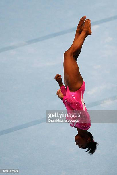 Simone Biles of USA competes in the Floor Exercise during the Womens All-Round Final on Day Five of the Artistic Gymnastics World Championships...