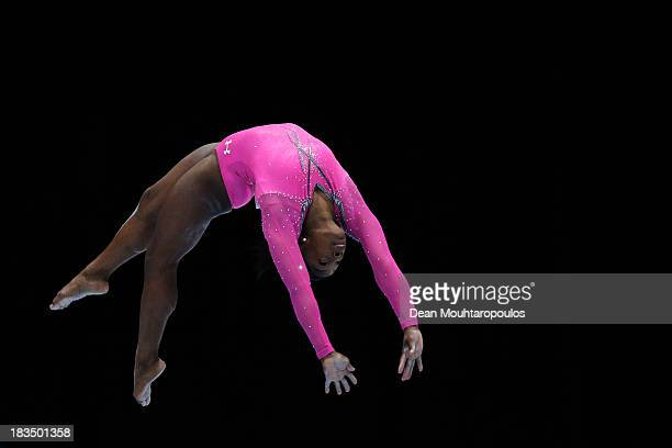 Simone Biles of USA competes in the Women's balance beam final on Day Seven of the Artistic Gymnastics World Championships Belgium 2013 held at the...
