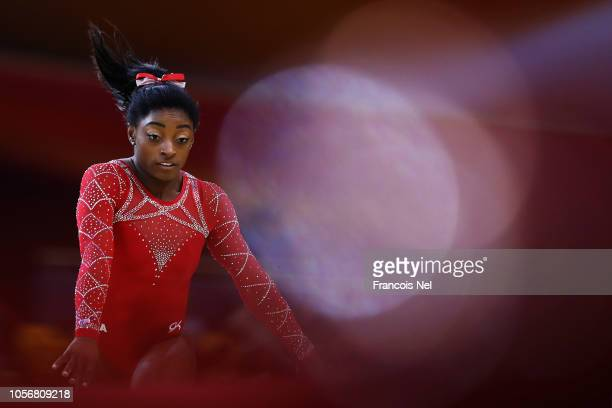 Simone Biles of USA competes in the Womens Floor Final during day ten of the 2018 FIG Artistic Gymnastics Championships at Aspire Dome on November 3...