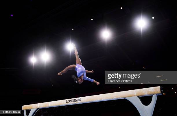 Simone Biles of USA competes on Balance Beam during the Apparatus Finals on Day 10 of the FIG Artistic Gymnastics World Championships at Hanns Martin...