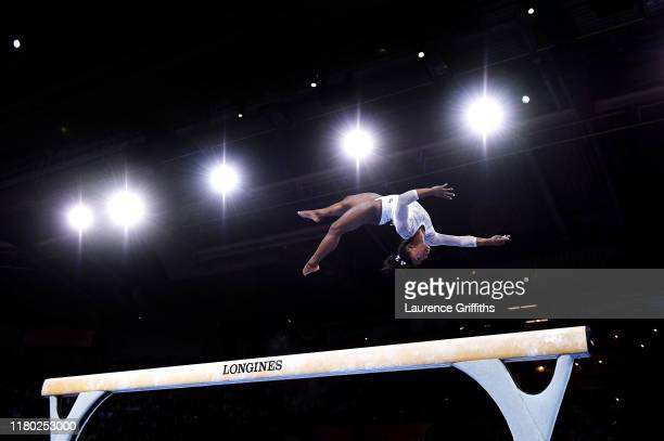 Simone Biles of USA competes on Balance Beam during the Women's AllAround Final on Day 7 of FIG Artistic Gymnastics World Championships on October 10...