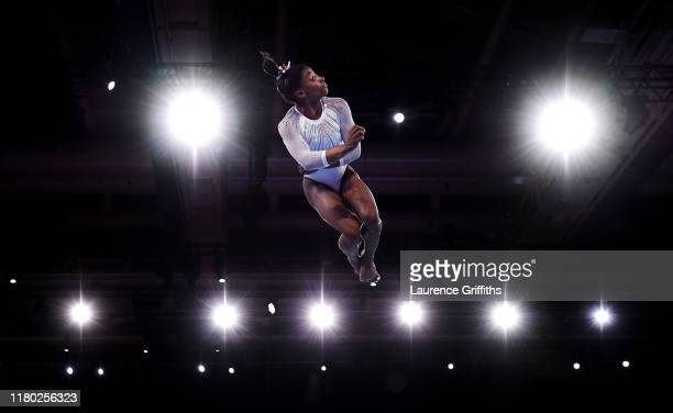 Simone Biles of USA competes on Floor during the Women's AllAround Final on Day 7 of FIG Artistic Gymnastics World Championships on October 10 2019...