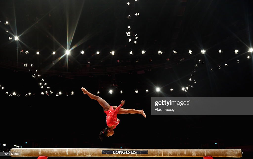 Simone Biles of USA competes on the Beam during the All-Around Final on day seven of the 2015 World Artistic Gymnastics Championships at The SSE Hydro on October 29, 2015 in Glasgow, Scotland.