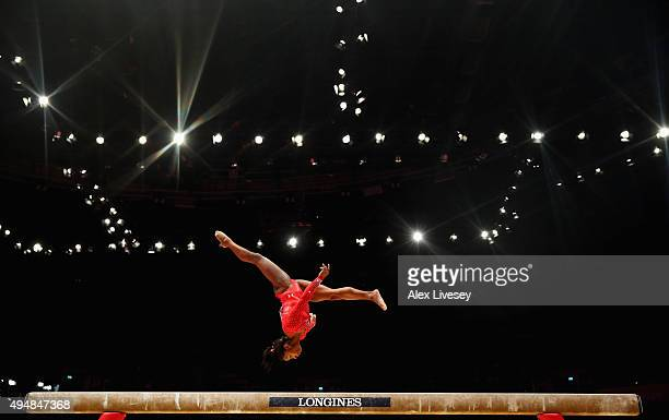 Simone Biles of USA competes on the Beam during the AllAround Final on day seven of the 2015 World Artistic Gymnastics Championships at The SSE Hydro...