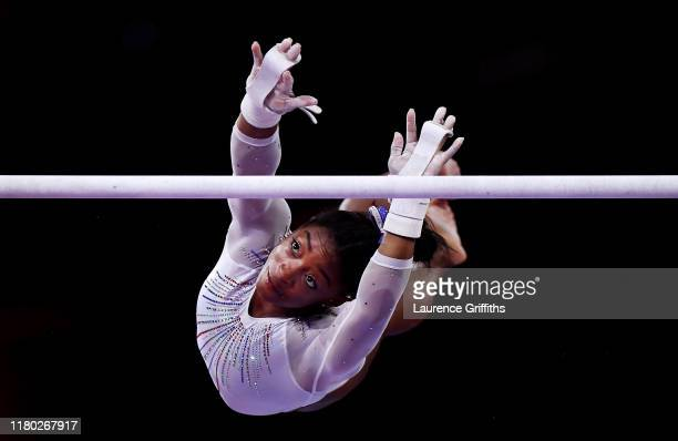 Simone Biles of USA competes on Uneven Bars during the Women's All-Around Final on Day 7 of FIG Artistic Gymnastics World Championships on October...