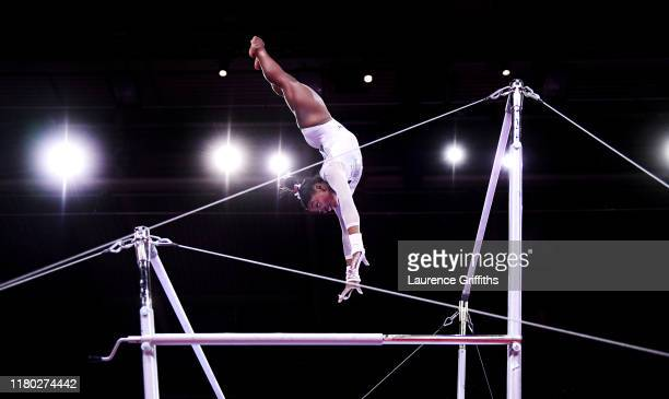 Simone Biles of USA competes on Uneven Bars during the Women's AllAround Final on Day 7 of FIG Artistic Gymnastics World Championships on October 10...