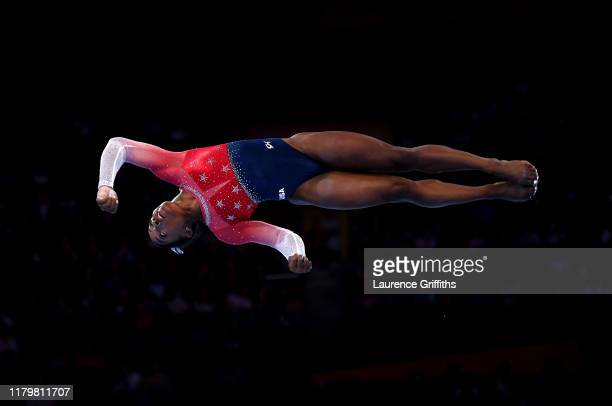 Simone Biles of USA performs her floor routine during the Women's Team Finals on Day 5 of FIG Artistic Gymnastics World Championships on October 08,...