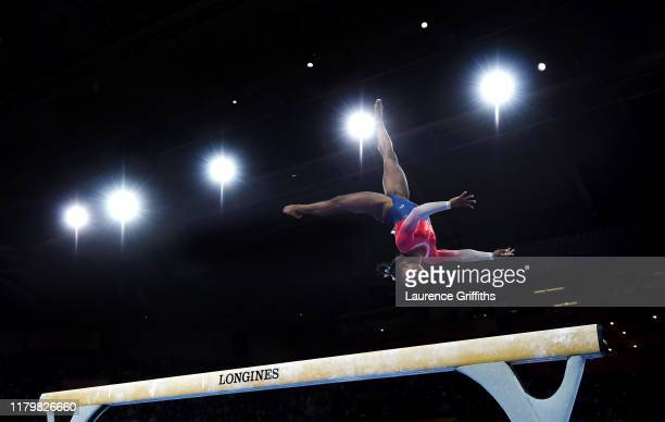 Simone Biles of USA performs on Balance Beam during the Women's Team Finals on Day 5 of FIG Artistic Gymnastics World Championships on October 08...