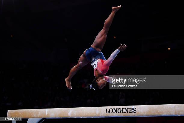 Simone Biles of USA performs on the Balance Beam during the Women's Team Final on Day 5 of the FIG Artistic Gymnastics World Championships on October...
