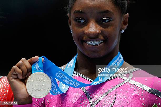 Simone Biles of USA poses after winning the Gold medal in the Floor Exercise Final on Day Seven of the Artistic Gymnastics World Championships...