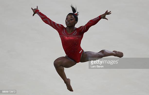 Simone Biles of USA practices the vault during a training session ahead of the Artistic Gymnastics Event at the Olympic Park on August 4 2016 in Rio...