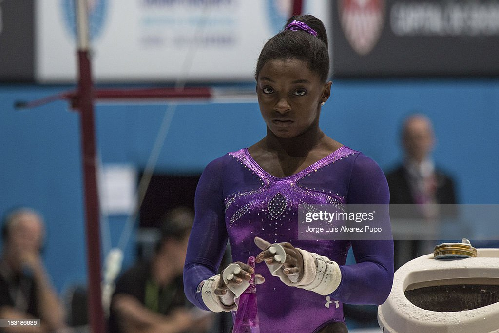 Simone Biles of USA prepares for the Uneven Bars Final on Day Six of the Artistic Gymnastics World Championships Belgium 2013 held at the Antwerp Sports Palace on October 5, 2013 in Antwerpen, Belgium. Jorge Luis Alvarez Pupo/LatinContent/Getty Images)