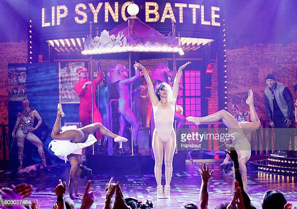 Simone Biles Olivia Munn and Aly Raisman perform onstage during Spike TV's Lip Sync Battle All Stars Live on September 11 2016 in Studio City...