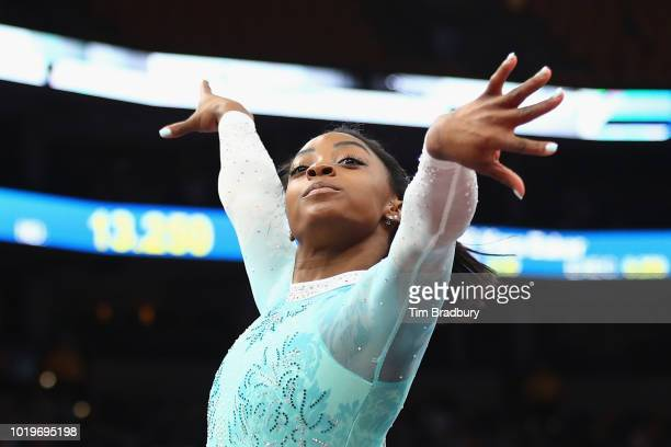 Simone Biles performs her floor exercise during day four of the US Gymnastics Championships 2018 at TD Garden on August 19 2018 in Boston...