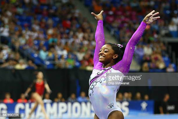 Simone Biles reacts after competing on the vault during day one of the 2016 PG Gymnastics Championships at Chafitz Arena on June 24 2016 in St Louis...