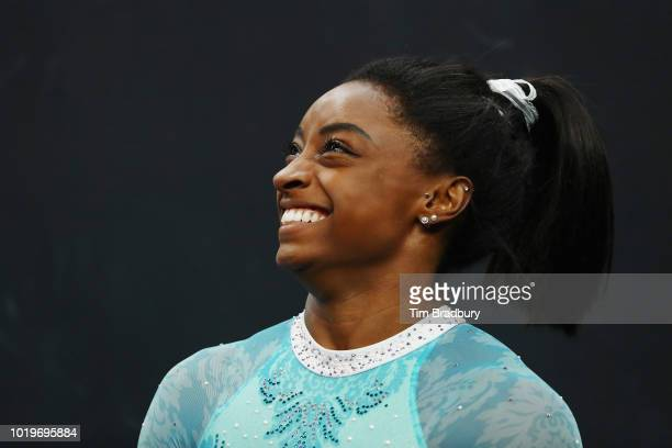 Simone Biles smiles during day four of the US Gymnastics Championships 2018 at TD Garden on August 19 2018 in Boston Massachusetts