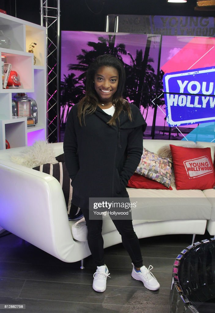 Simone Biles Visits Young Hollywood Studio