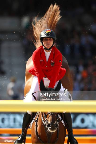 Simone Blum of Germany riding DSP Alice competes during Day 5 of the Longines FEI Jumping European Championship, Round 2 Team Final, Second...