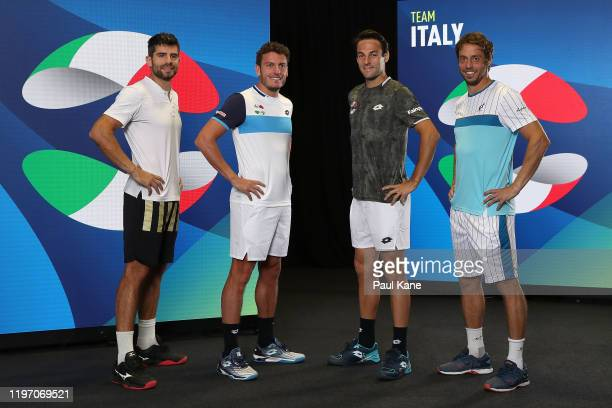 Simone Bolelli Alessandro Giannessi Stefano Travaglia and Paolo Lorenzi of Team Italy pose for a team photo ahead of the 2020 ATP Cup Group Stage at...