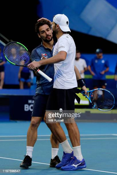 Simone Bolelli and Fabio Fognini of Team Italy celebrate after defeating Viktor Durasovic and Casper Ruud of Team Norway during day three of the 2020...
