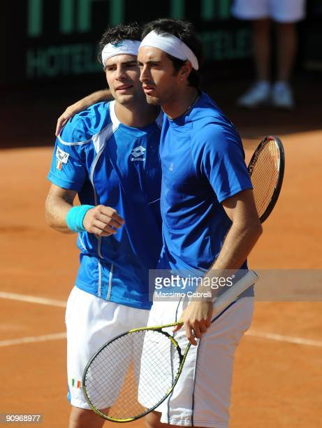 Simone Bolelli and Potito Starace of Italy celebrate the victory against Marco Chiudinelli and Stanislas Wawrinka of Switzerland during their Davis...