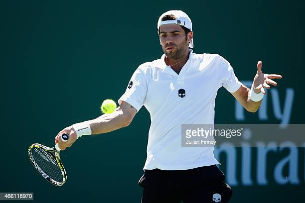 Simone Bolelli of Italy in action against Thomaz Bellucci of Brazil during day five of the BNP Paribas Open tennis at the Indian Wells Tennis Garden...