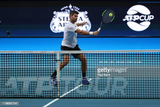Simone Bolelli of Italy practices ahead of the 2020 ATP Cup Group Stage at RAC Arena on January 01 2020 in Perth Australia