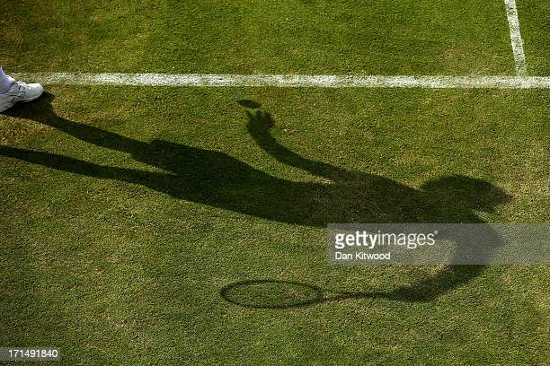 Simone Bolelli of Italy prepares to serve during his Gentlemen's Singles first round match against Grigor Dimitrov of Bulgaria on day two of the...
