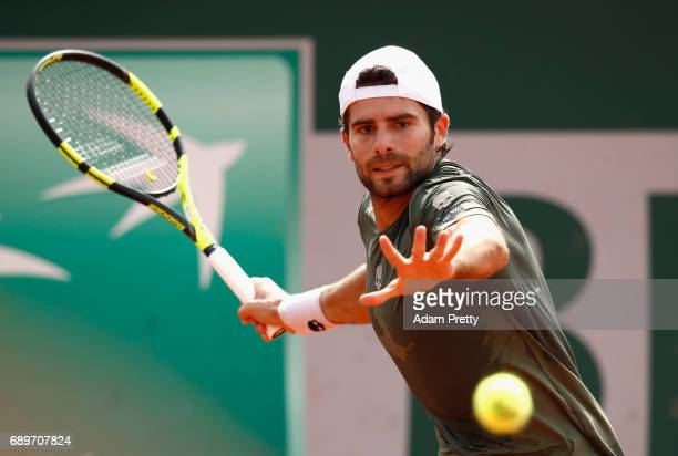 Simone Bolleli of Italy plays a forehand during the mens singles first round match against Nicolas Mahut of France on day two of the 2017 French Open...