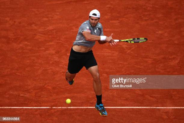 Simone Bolleli of Italy returns the ball during the mens singles first round match against Rafael Nadal of Spain during day two of the 2018 French...