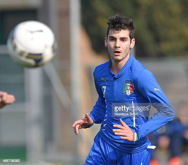 Simone Cantelli of Italy in action during the international friendly match between U16 Italy and U16 Germany on March 18 2015 in Recanati Italy