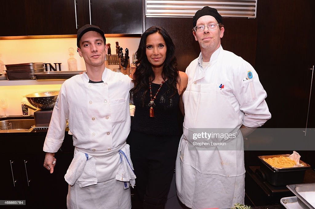 Simone Consolini, Padma Lakshmi and Joseph Kenny pose as Padma Lakshmi celebrates European travel with Airbnb on April 7, 2015 in New York City.