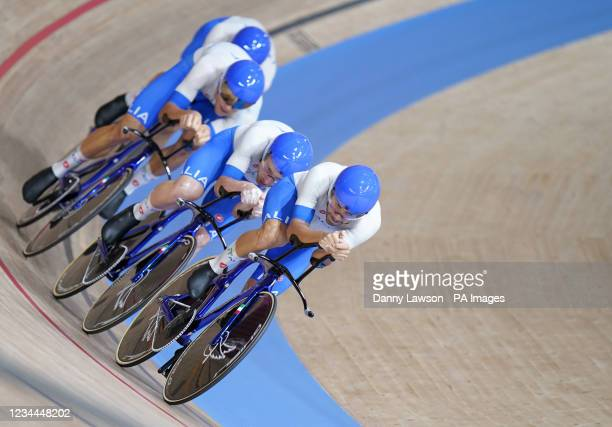 Simone Consonni, Flippo Ganna, Francesco Lamon and Jonathan Milan of Italy on their way to gold in the Men's Team Pursuit Final during the Track...