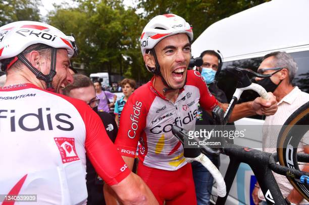 Simone Consonni of Italy and Christophe Laporte of France and Team Cofidis celebrate at finish line during the 61st Grand Prix de Wallonie 2021 a...