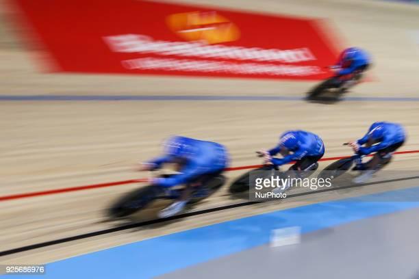 Simone ConsonniLiam BertazzoFilippo GannaFrancesco Lamon of Men`s team pursuit compete at The UCI World Cycling Championships in Apeldoorn on...