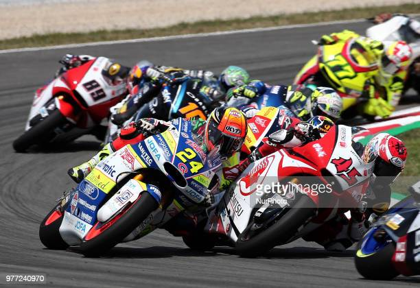 Simone Corsi and Tetsuta Nagashima during the Moto 2 GP Catalunya Moto GP on 17th June in Barcelona Spain