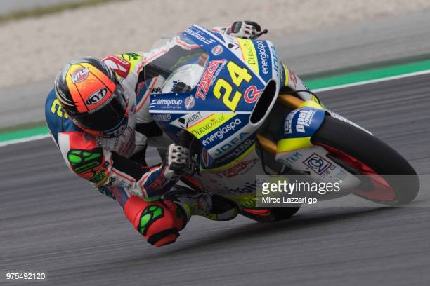 Simone Corsi of Italy and Tasca Racing Scuderia Moto2 rounds the bend during the MotoGp of Catalunya Free Practice at Circuit de Catalunya on June 15...