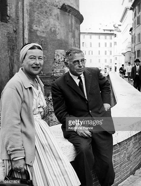 Simone De Beauvoir And JeanPaul Sartre In The Streets Of Rome On October 22 1963