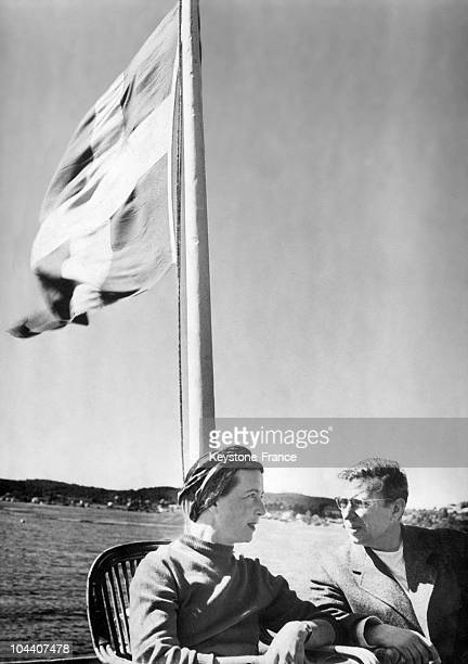Simone DE BEAUVOIR and JeanPaul SARTRE on board the boat Juno during a cruise from Gothenburg to Stockholm in 1947