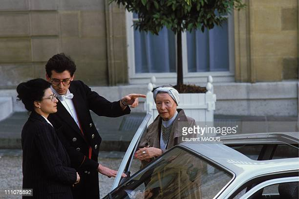 Simone de Beauvoir at the Elysee Palace in Paris France on May 15th 1985