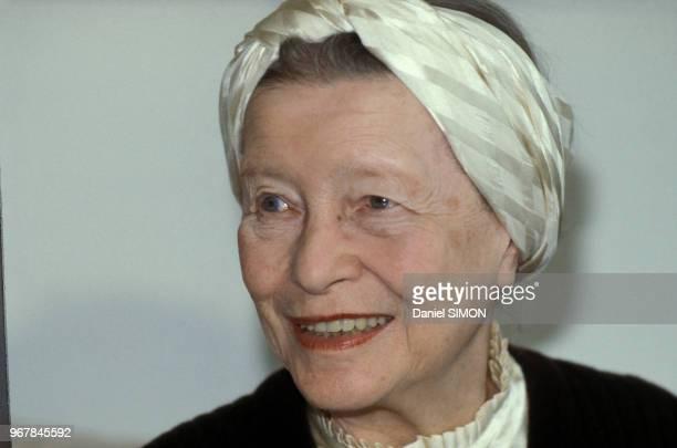 Simone de Beauvoir écrivain féministe le 21 avril 1979 à Paris France