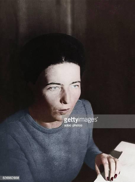 Simone de Beauvoir French writer In November 1945 Coloured photograph