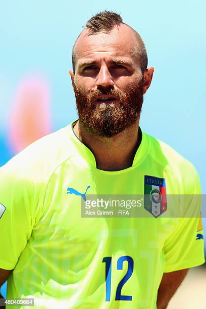 Simone del Mestre of Italy prior to the FIFA Beach Soccer World Cup Portugal 2015 Group B match between Oman and Italy at Espinho Stadium on July 11...